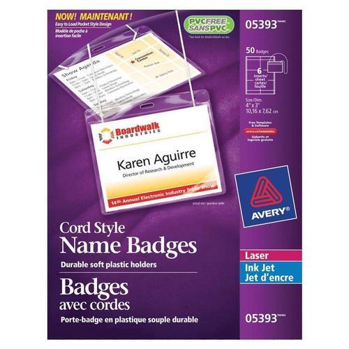 avery laser inkjet hanging name badge kit 4 x 3 clear