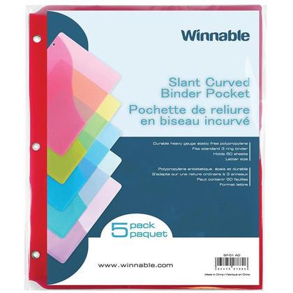 Winnable polypropylene inclinaison statique liant sans poche de taille lettre, paquet de 5 - couleurs assorties