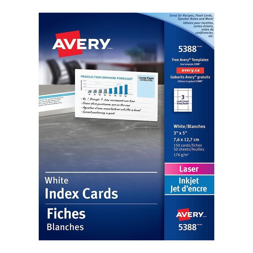 Avery Printable Index Card - For Laser Print - 3\