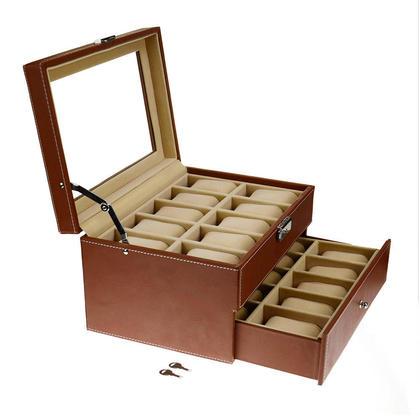 Lockable Watch Leather Box Jewelry Storage Organizer Glass Top 2-Tiers - SortWise™ | Living.ca Canada  sc 1 st  Living.ca & Lockable Watch Leather Box Jewelry Storage Organizer Glass Top 2 ...
