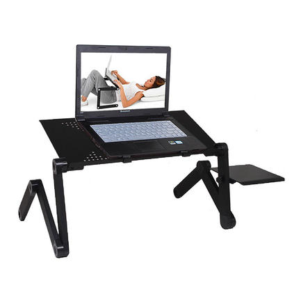 Portable Folding Laptop Notebook Book Ultrabook Table Desk Tray Stand With  Cooling Pad And Mouse Pad   Black