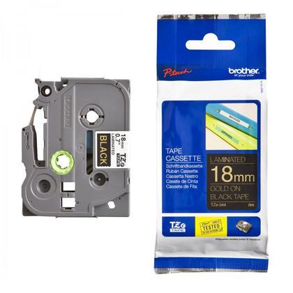 Brother TZe-344 Original Label Tape, 18mm (0.7''), Gold on Black
