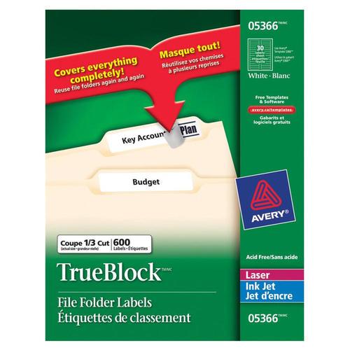 avery trueblock laser inkjet file folder labels 3 7 16 x 2 3