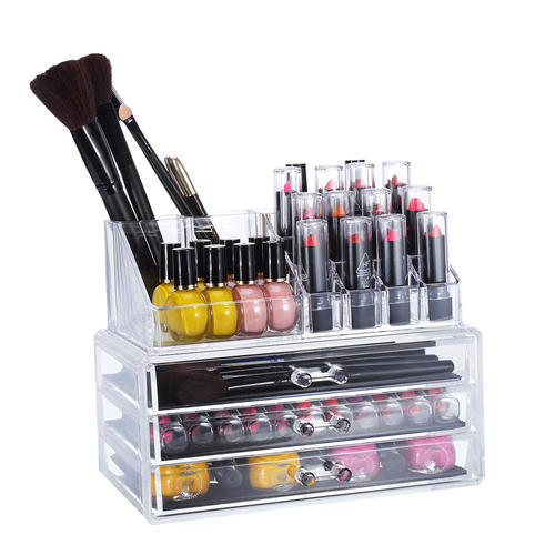 Acrylic Cosmetic Makeup Storage Detachable 3 Drawers Cube Jewelry Organizer [DIY - L] - SortWise™  sc 1 st  Living.ca & Acrylic Cosmetic Makeup Storage Detachable 3 Drawers Cube Jewelry ...
