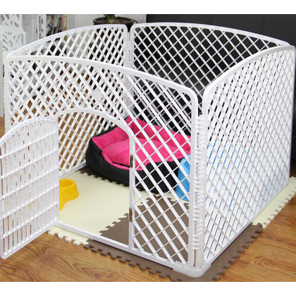Dog Crate Pet Kennel Cage With Door Pet Play & Exercise Indoors Outdoors Playpen White-LIVINGbasics™