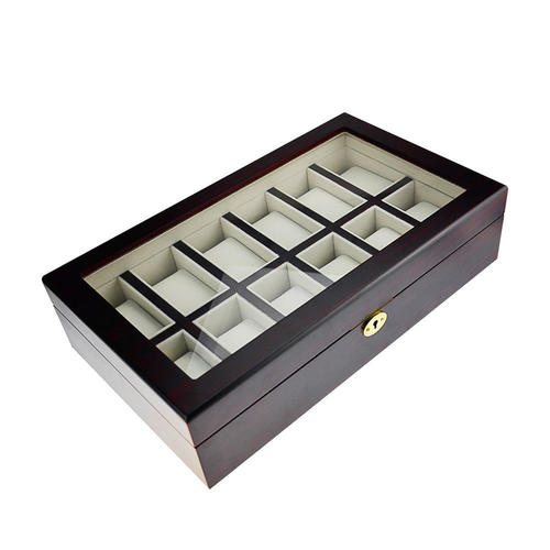 Wooden Watch Box Jewelry Storage Organizer Box With Lock Key Glass