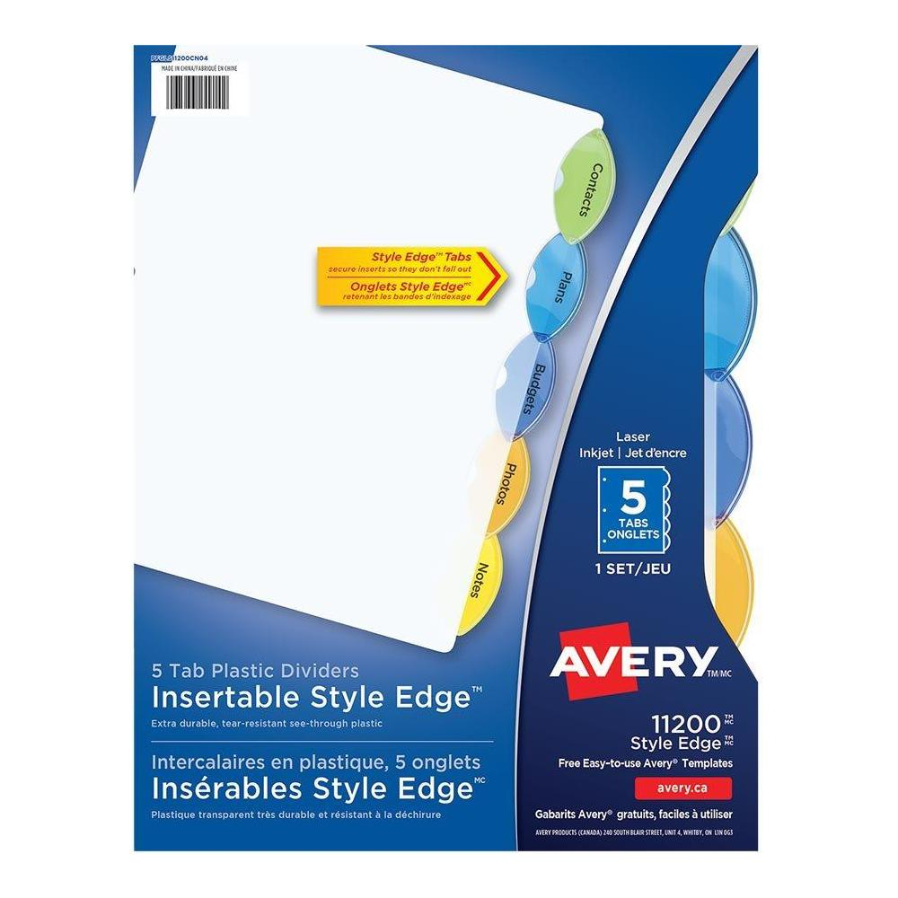 Avery Style Edge Plastic Insertable Dividers Multi Color 5 Tabs