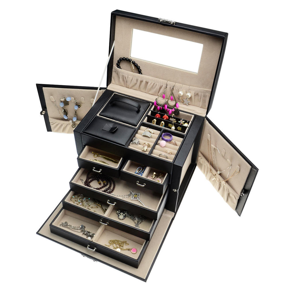 black pu leather 5 layers jewelry box storage organizer with mini travel case and lock at canada