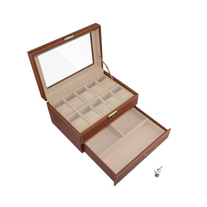 brown leather 10 watch box with jewelry display drawer glass top lockable watch case