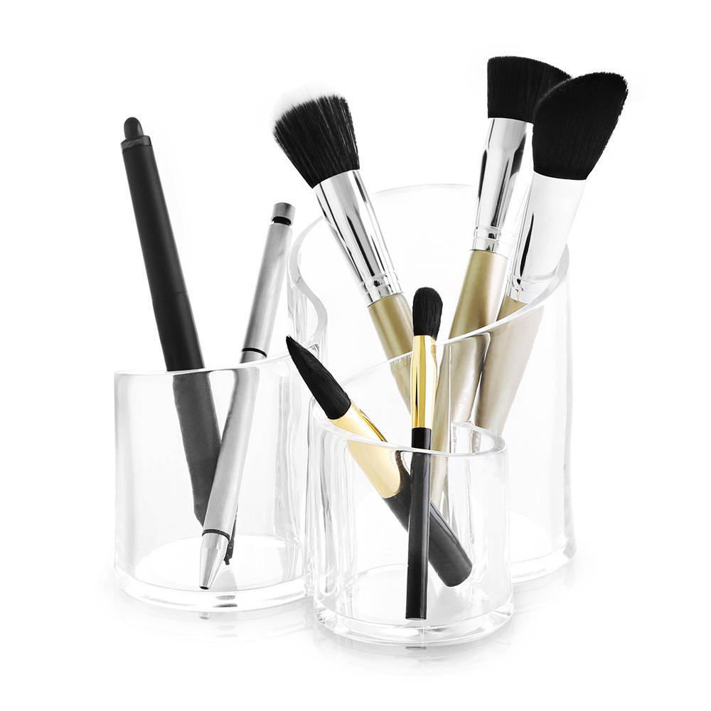 Acrylic Clear 3 Cylindrical Holder Brush Storage Makeup Cosmetic Organizer  Stand Box | Living.ca Canada