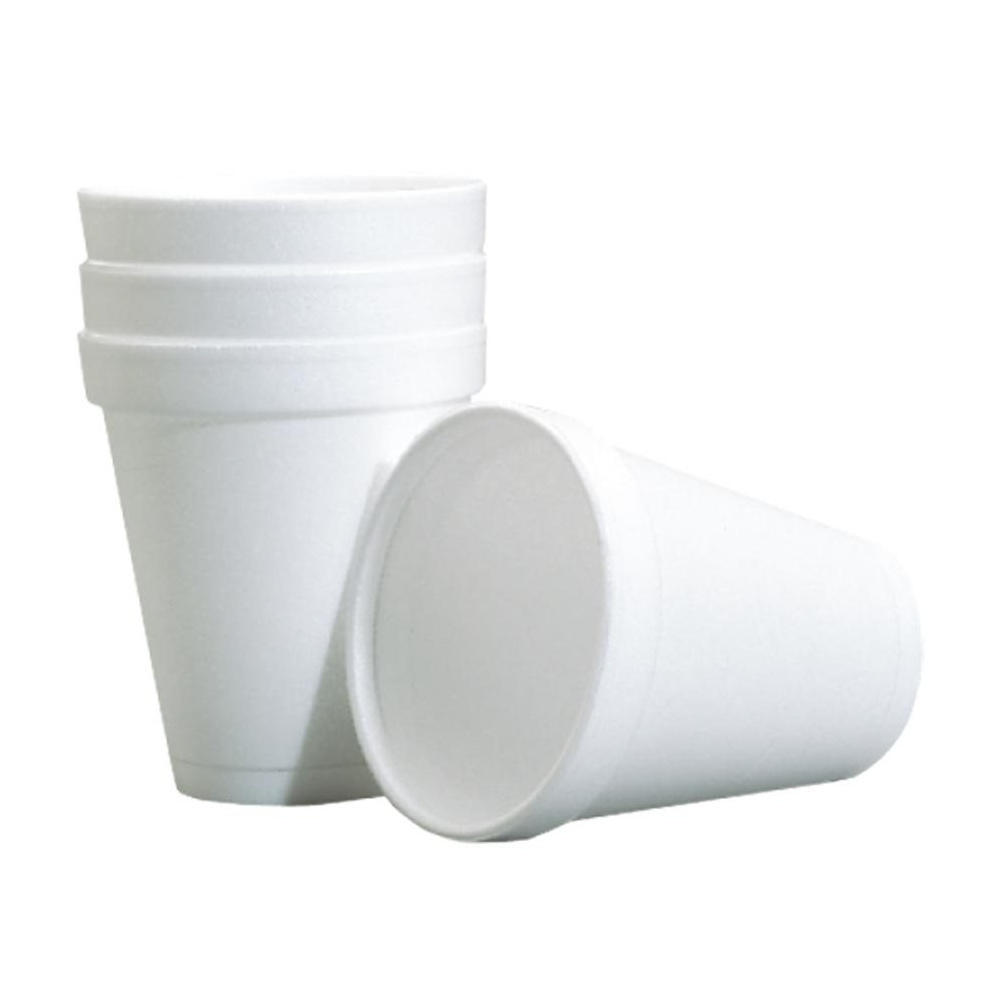 Disposable White Polystyrene foam plastic Coffee Cups, Package of 25 852-64185