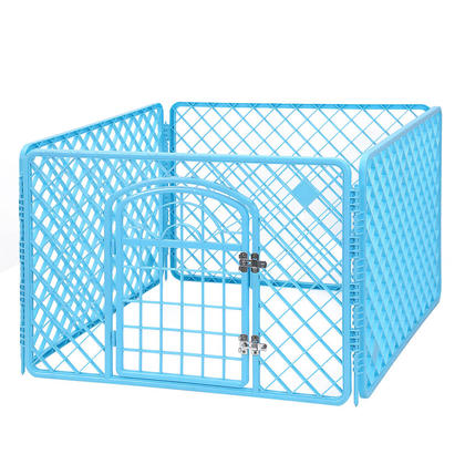 Dog Crate Pet Kennel Cage With Door Pet Play & Exercise Indoors Outdoors Playpen Blue- LIVINGbasics™