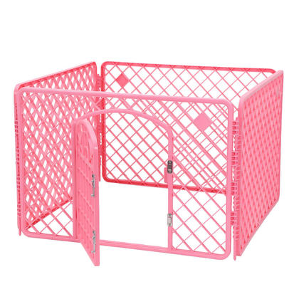Dog Crate Pet Kennel Cage With Door Pet Play & Exercise Indoors Outdoors Playpen Pink- LIVINGbasics™