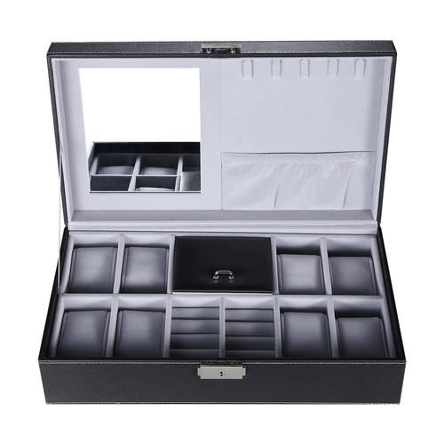 Black Leather Jewelry Box Watch Organizer Storage Case With Lock U0026 Mirror  SortWise™