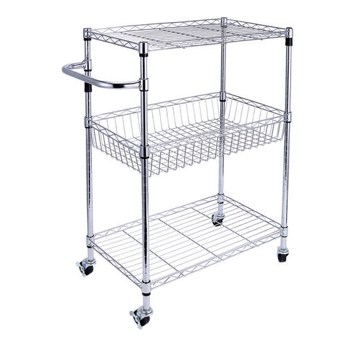 Wire Shelves With Wheels | Storage Rack Organizer With Wheels Steel Chrome Basket Shelves 3