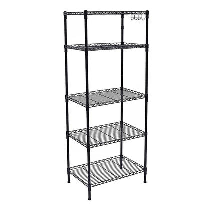 "Shelving Unit Storage Organizer With 4 Detachable Hooks 59""H Heavy Duty Waterproof 5Tier - SortWise™"