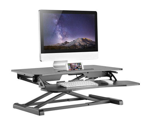 splssku en ca desk to adr sit riser black rocelco product height adjustable stand