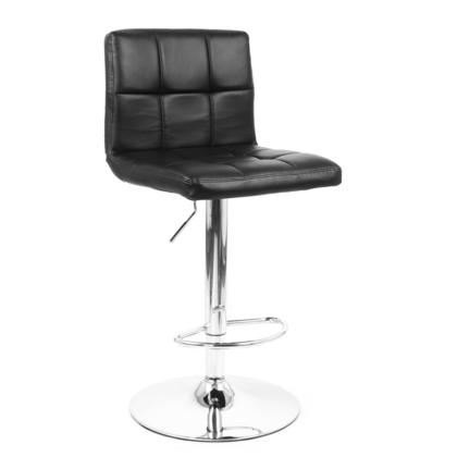 Adjustable Height Swivel Bar Stool with Black Bonded-Leather Seat - Moustache® - 1/Pack