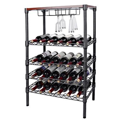 Wine Rack Storage Organizer Holds 24 Bottles Wood Table Top Display & Wine Glass Hanger - SortWise™