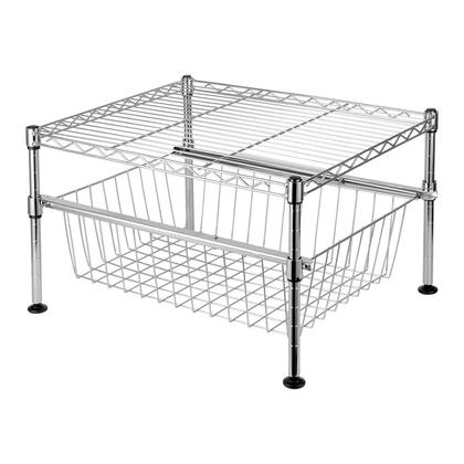 Storage Rack Shelving Unit Drawer Mini Wire Cabinet Sliding Basket Organization 2-Tiers - SortWise™