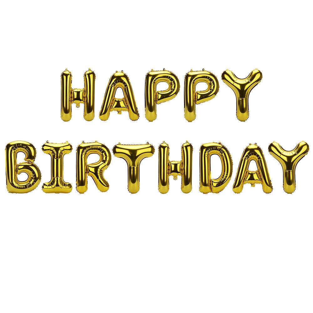 HAPPY BIRTHDAY Foil Balloon Letter Banner Gold 14\