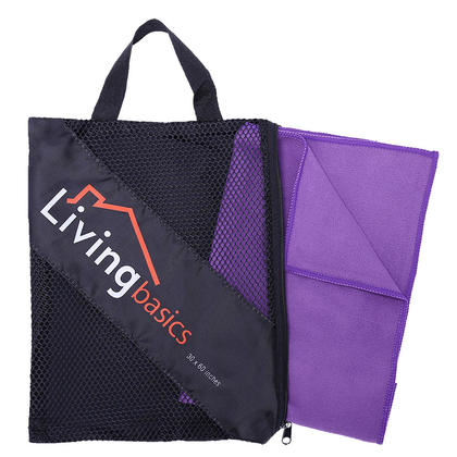 Microfiber Travel Sports Towel Fast Drying Light Weight Towel With Carry Bag, Purple - LIVINGbasics™