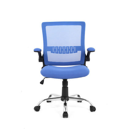 Colorful Mesh Office Chairs with Flip Up Arms , Mid Back - Moustache@ - Blue
