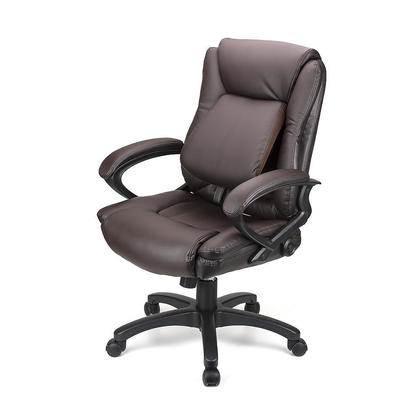 Ergonomic Faux-Leather Mid Back Office Chair with Adjustable Lumbar Support - Moustache@ - Dark Brown
