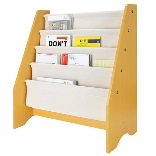 Kids Book Rack Storage Organizer Sling Bookshelf 4 Tier