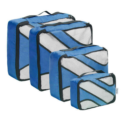 Travel Organizers Packing Cubes Lightweight Luggage Compression Pouches Blue 4 Set - SortWise™