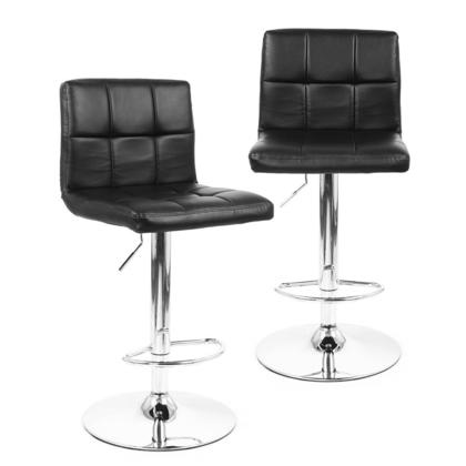 Adjustable Height Swivel Bar Stool with Black Bonded-Leather Seat - Moustache® - 2/Pack