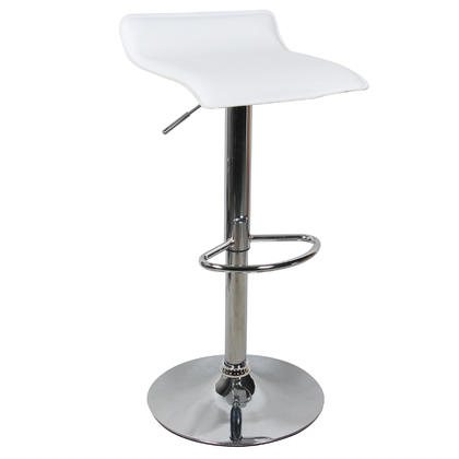 Adjustable Height Swivel Bar Stool with White PVC Seat - Moustache® - 1/Pack
