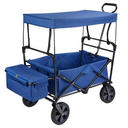 Wagon Utilitaire Pliable avec Canopée, Chariot de Jardin en Caoutchouc Pneu - GreenWise™