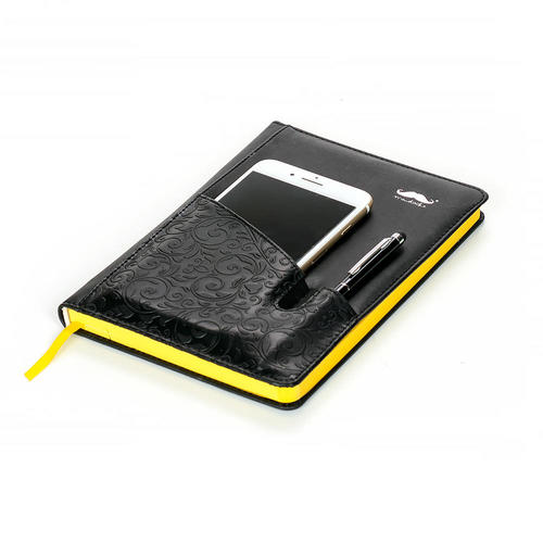 Pu Notebook With Cell Phone Pocket 96 Sheets A5 Black