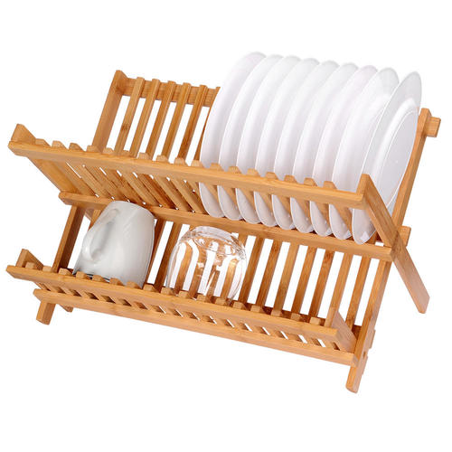 Dish Rack Drying Rack Collapsible Compact Plate Organizer Bamboo Dish Drainer Storage - SortWise™  sc 1 st  Living.ca & Dish Rack Drying Rack Collapsible Compact Plate Organizer Bamboo ...