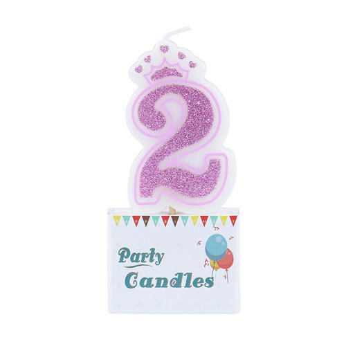 Birthday Crown Candle Glitter Number 2 Shining Cake For Kids Pink