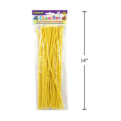 Twistable Chenille Stems Sticks Kids DIY Crafts Supplies Educational Toys, Yellow, 40 Pieces