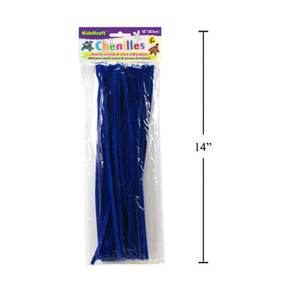 Twistable Chenille Stems Sticks Kids DIY Crafts Supplies Educational Toys, Blue, 40 Pieces