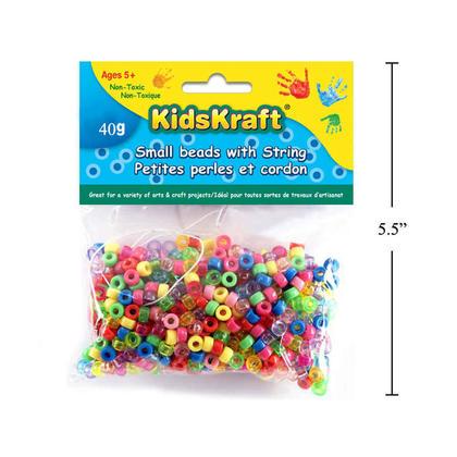 40g petites perles en plastique avec de la ficelle, artisanat bricolage coloré - KidsKraft