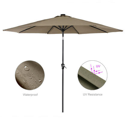 9 FT Outdoor Patio Umbrella for Garden and Event Parasol Sun Sunshade - GreenWise™ - Tan