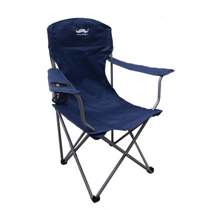 Breathable Mesh Polyester Fabric Camping Chair,  Navy- Moustache@ - 1/Pack