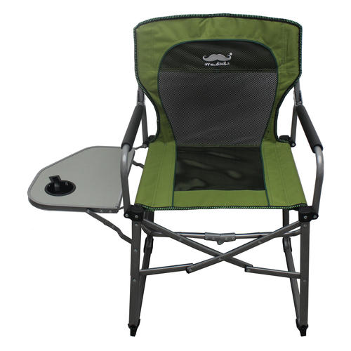 Camping Portable Director Mesh Chair With Side Table Green Black
