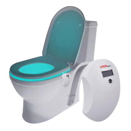 LED Toilet Night Light Glow Motion, Activated 7 Color Changing for Bathroom Toilet - LIVINGbasics™