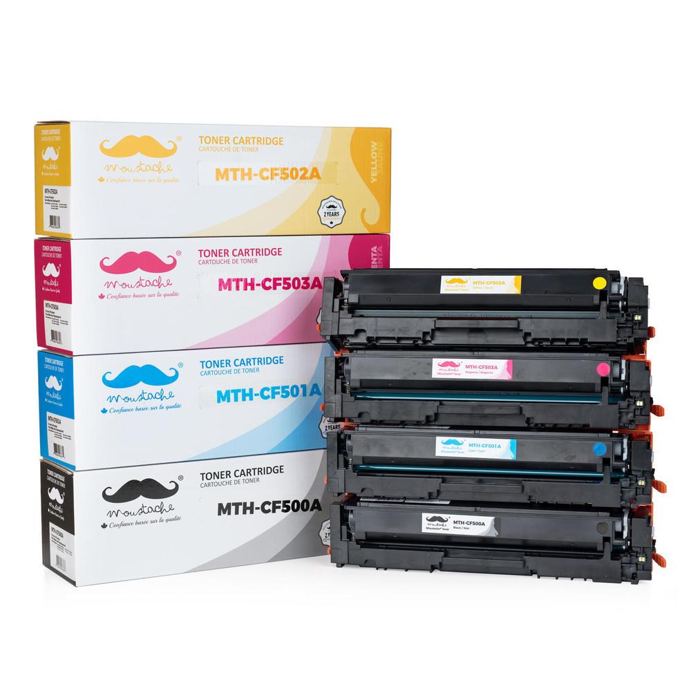 Compatible HP 202A CF500A CF501A CF502A CF503A Toner Cartridge Combo  BK/C/M/Y - Moustache®