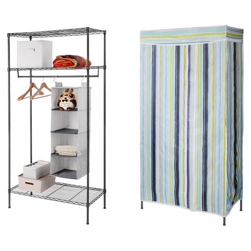Closet Organizer Storage Black Included Garment Rack And Wardrobe Cover  3 Shelf   SortWise™