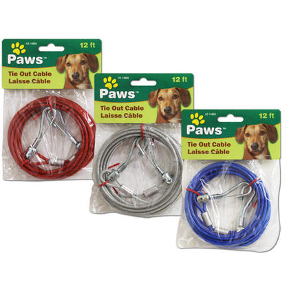 12ft Dog Tie Out Cable, 1 Randomized Color Per Pack - PAWS