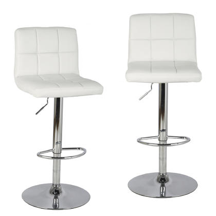 Adjustable Height Swivel Bar Stool with Ivory Bonded-Leather Seat - Moustache® - 2/Pack