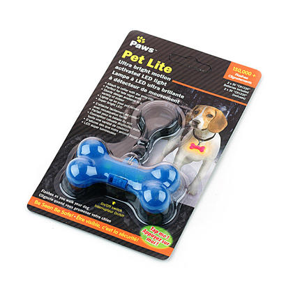 Ultra Bright Motion Activated Bone Collar LED Light for Pet, 1 Randomized Color Per Pack - Paws