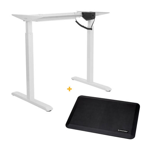 Electric Sit to Stand Adjustable Desk Riser Frame White + Anti ...