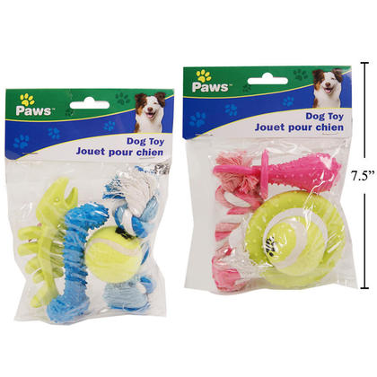 4pcs Pet Chew Toy Set with Ball, Rope and Interactive Toy, 1 Randomized Style Per Pack - Paws